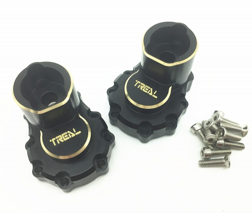 Treal Brass Rear Inner Portal Cover Housing and Portal Drive Axle Mounts (2) pcs Blacken for Traxxas TRX-4/TRX-6