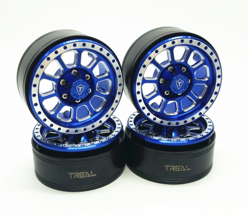Treal 1.9 Beadlock Wheel Rims Heavy Duty CNC Aluminum 4pcs-Set for 1:10 RC Crawler TRX-4 Axial SCX10 II